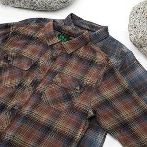 Hippy Tree Sheldon Flannel in Rust Plaid Shirt L